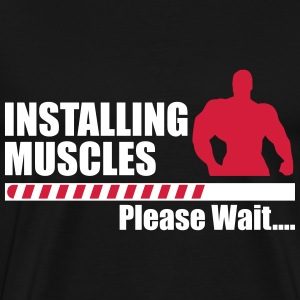 Installing muscles - funny gym  - Men's Premium T-Shirt