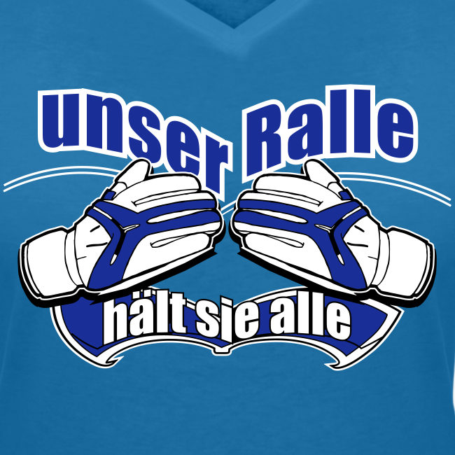 """T-Shirt mit V-Ausschnitt """"Ralle hält sie alle"""" - pfauenblau"""