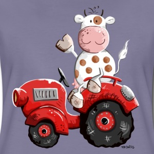 Cow drives a tractor T-Shirts - Women's Premium T-Shirt