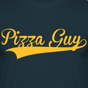 pizza guy retro college baseball style l - T-shirt Homme