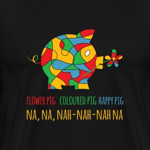 Happy colourfull flower pig - Men's Premium T-Shirt