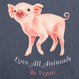 Love all animals. Be vegan. - Schoudertas van gerecycled materiaal