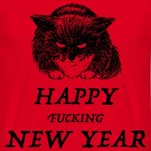 bad cat new year Camisetas - Camiseta hombre