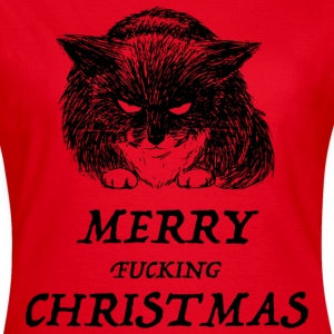 bad cat merry christmas Camisetas - Camiseta mujer