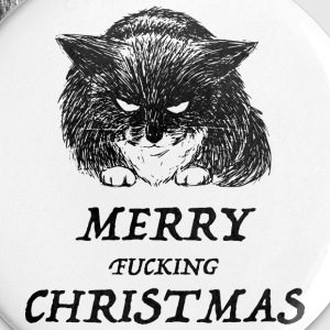 bad cat merry christmas Buttons & merkelapper - Stor pin 56 mm