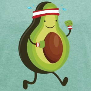 Running Avocado T-Shirts - Women's T-shirt with rolled up sleeves