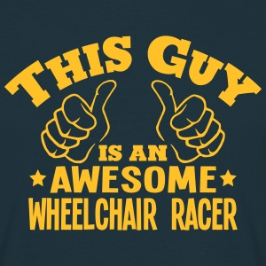 this guy is an awesome wheelchair racer - Men's T-Shirt