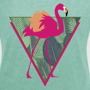 Animal Planet Tropen-Vogel Pink Flamingo - Frauen T-Shirt mit gerollten Ärmeln