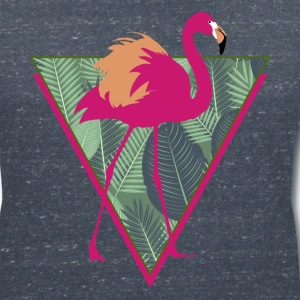 Animal Planet Birds Pink Flamingo With Leaves - Women's V-Neck T-Shirt