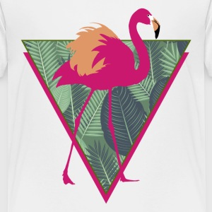 Animal Planet Birds Pink Flamingo With Leaves - Teenage Premium T-Shirt