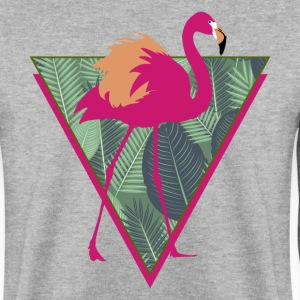 Animal Planet Birds Pink Flamingo With Leaves - Miesten svetaripaita