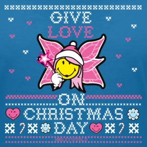 SmileyWorld Cute Christmas Elf Give Love - Koszulka damska  z dekoltem w serek