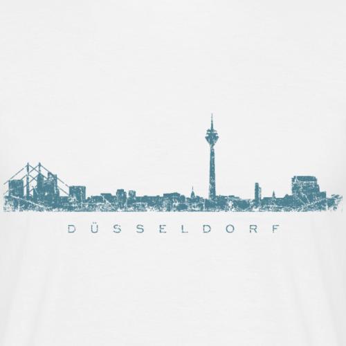 Düsseldorf Skyline Vintage Blau