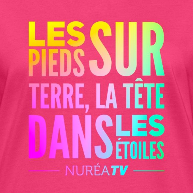 """Tee shirt Bio Femme Nuréa TV """"Terre & Étoiles"""" - Rainbow"""