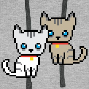 deux chat pixel Sweat-shirts - Sweat-shirt à capuche Premium pour hommes