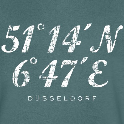 Düsseldorf Koordinaten (Vintage/Weiß)