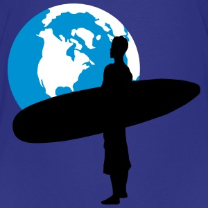 Surfer with globe - Kids' Premium T-Shirt