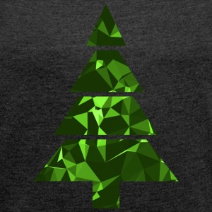 Christmas Tree (Low Poly) T-shirts - Dame T-shirt med rulleærmer