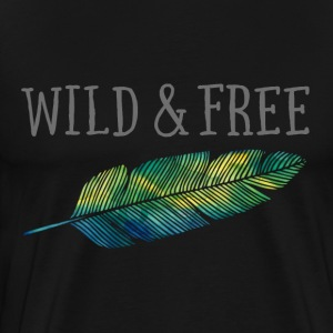 Wild & Free (Watercolor Feather) T-shirts - Mannen Premium T-shirt