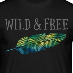 Wild & Free (Watercolor Feather) Tee shirts - T-shirt Homme