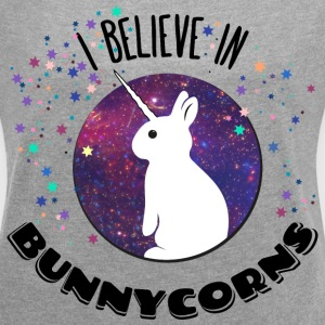 i believe in bunnycorns unicorns bunnies rabbit  T-Shirts - Women's T-shirt with rolled up sleeves
