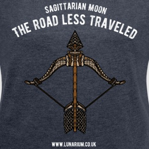 Sagittarius Moon Women's T-shirt with rolled up  - Women's T-shirt with rolled up sleeves