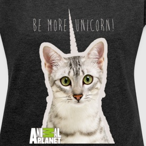 Animal Planet Humour Pets Cats Cute Unicorn - Women's T-shirt with rolled up sleeves
