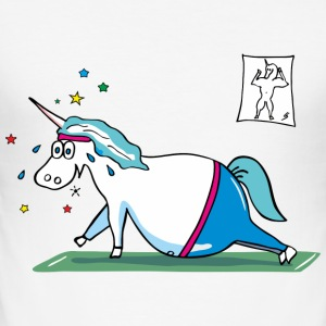 Fat Unicorn doing sports T-Shirts - Men's Slim Fit T-Shirt
