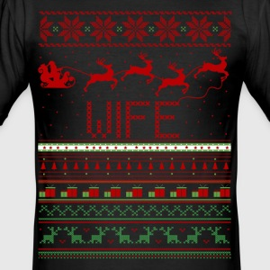 Wife Ugly Christmas Sweater T-Shirts - Men's Slim Fit T-Shirt