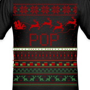 Pop Ugly Christmas Sweater Xmas T-Shirts - Men's Slim Fit T-Shirt