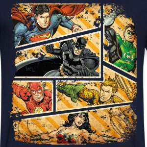 DC Comics Justice League Comic Book Panels - T-shirt med v-ringning herr
