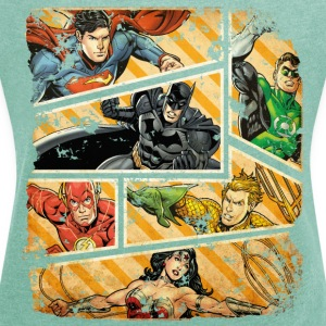 DC Comics Justice League Comic Book Panels - Dame T-shirt med rulleærmer