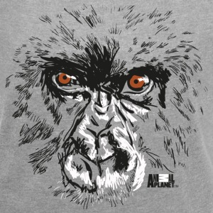 Animal Planet Primates Apes Gorilla Portrait - Women's T-shirt with rolled up sleeves
