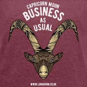 Capricorn Moon Women's T-shirt with rolled up sl - Women's T-shirt with rolled up sleeves