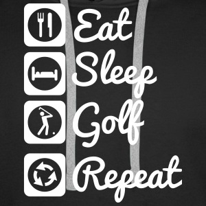 Eat sleep golf repeat  Bluzy - Bluza męska Premium z kapturem
