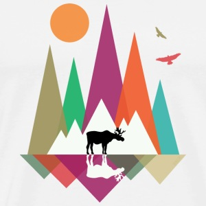 Hipster Mountains & Moose T-Shirts - Men's Premium T-Shirt