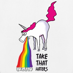 Unicorn vomiting rainbow - take that haters Bags & Backpacks - EarthPositive Tote Bag