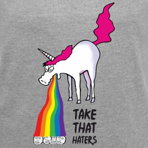 Unicorn vomiting rainbow - take that haters T-skjorter - T-skjorte med rulleermer for kvinner