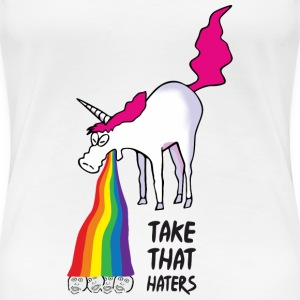 Unicorn vomiting rainbow - take that haters Tee shirts - T-shirt Premium Femme