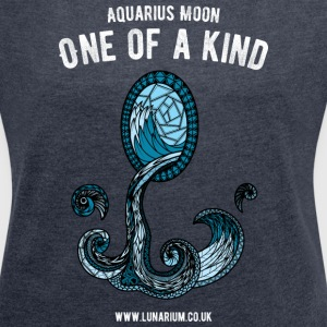 Aquarius Moon Women's T-shirt with rolled up sle - Women's T-shirt with rolled up sleeves