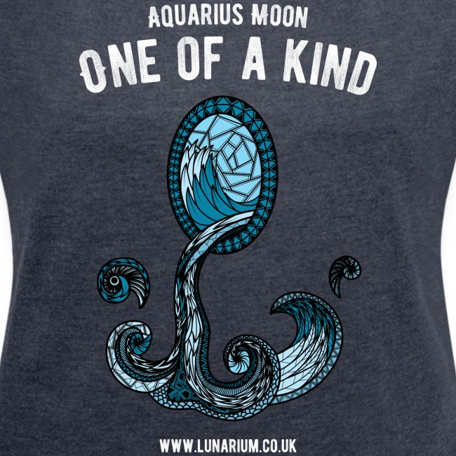 Aquarius Moon Women's T-shirt with rolled up sleeves