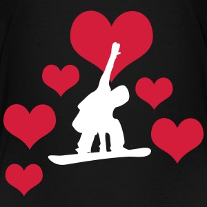 Snowboarder with 6 hearts - Kids' Premium T-Shirt