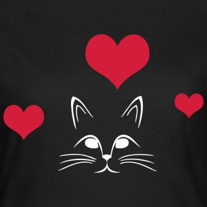 Cat with 3 hearts - Women's T-Shirt