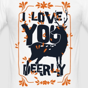 I love you deerly- Liebe Hirsch Reh Tier T-shirts - Herre Slim Fit T-Shirt