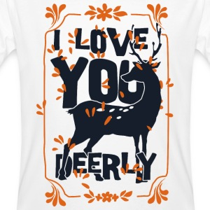 I love you deerly- Liebe Hirsch Reh Tier Magliette - T-shirt ecologica da uomo