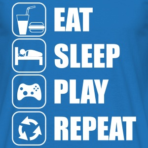 Eat,sleep,play,repeat Gamer Gaming Geek - Mannen T-shirt