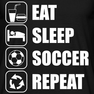 Eat,sleep,soccer,repeat Voetbal T-Shirt - Mannen T-shirt