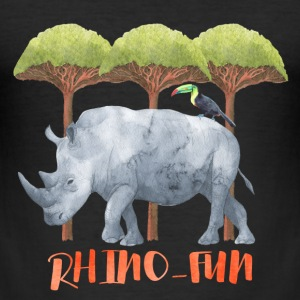 Rhino-FUN Rhino animal fun illustration of Africa T-Shirts - Men's Slim Fit T-Shirt
