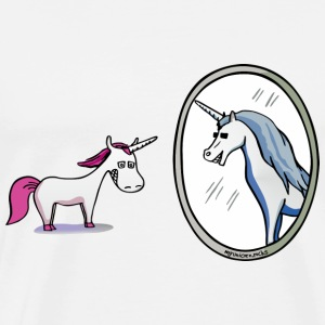 Unicorn in front of mirror  T-shirts - Mannen Premium T-shirt
