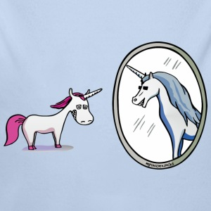 Unicorn in front of mirror  Baby body - Baby bio-rompertje met lange mouwen